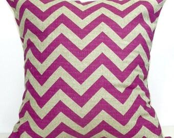 New 18x18 inch Designer Handmade Pillow Case in fuschia and taupe chevron