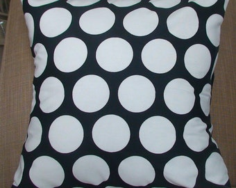 New 18x18 inch Designer Handmade Pillow Case in large white dots on black.