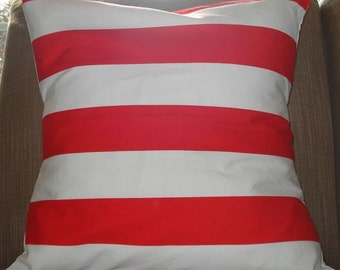 New 18x18 inch Designer pillow case in red stripe on white.