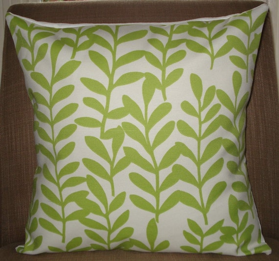 New 18x18 inch Designer Handmade Pillow Casein bright green leaves on white.