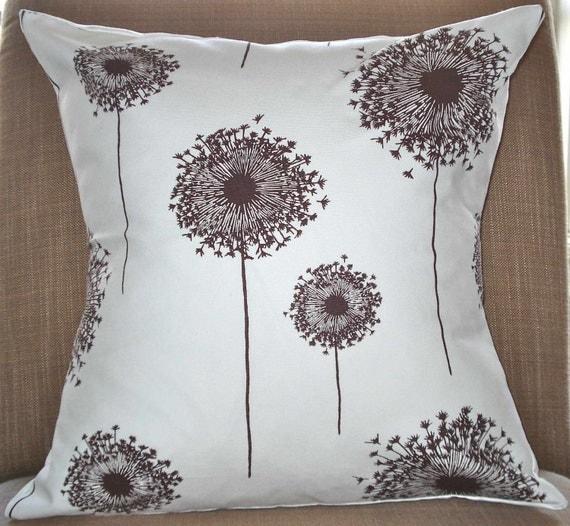 New 18x18 inch Designer Handmade Pillow Case with dandelion blooms in dark brown on a fresh white.