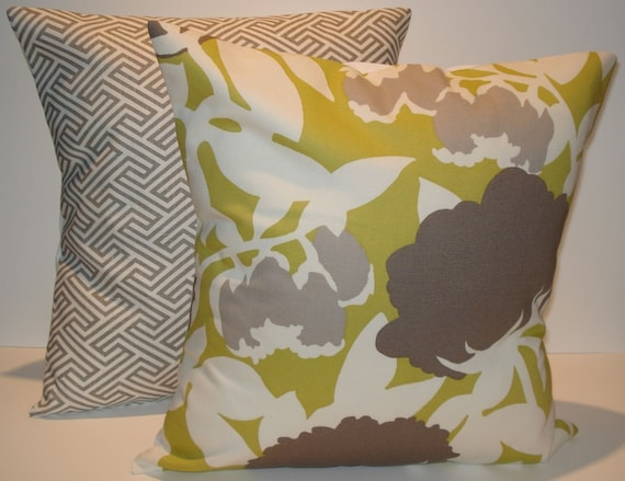 TWO New 18x18 inch Designer Handmade Pillow Cases. In warm grey and chartreuse.