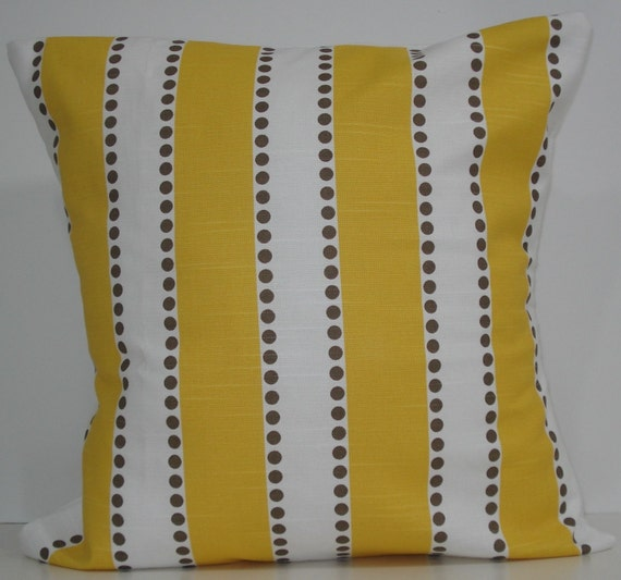 New 18x18 inch Designer Handmade Pillow Cases. wide yellow stripe with taupe dots.