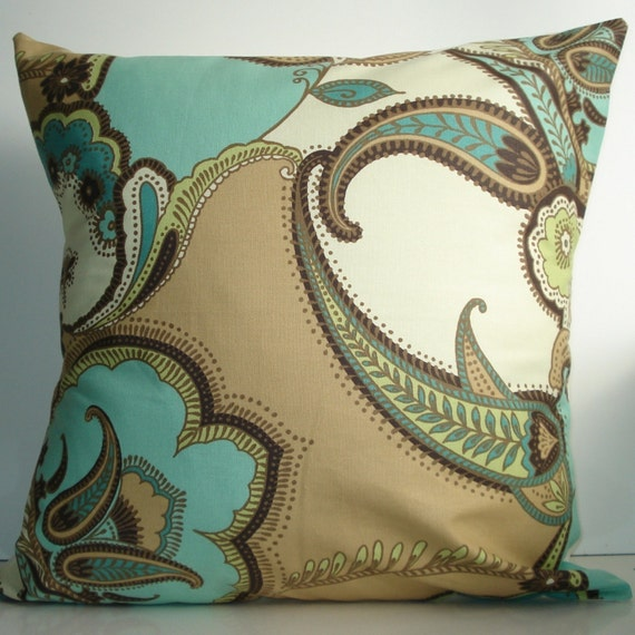 New 18x18 inch Designer Handmade Pillow Cases in large paisley print