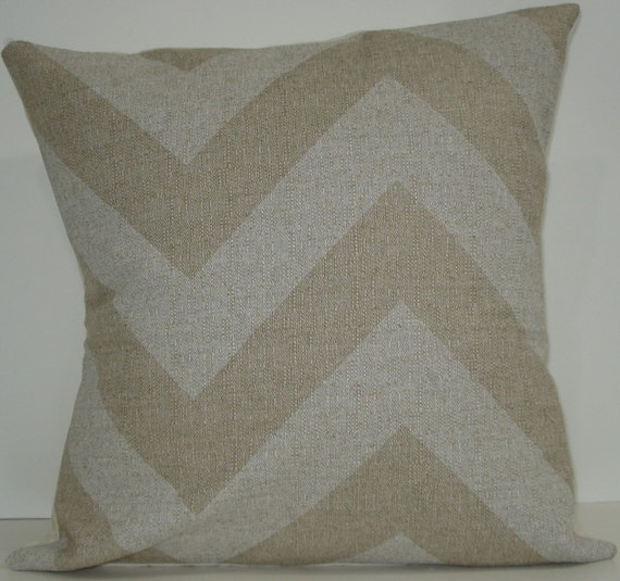 New 18x18 inch Designer Handmade Pillow Cases in large scale white and natural chevron, zig zag pattern
