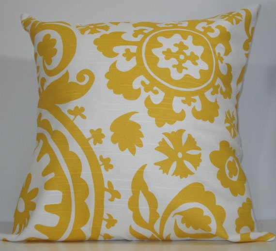 New 18x18 inch Designer Handmade Pillow Case. Suzani print in yellow