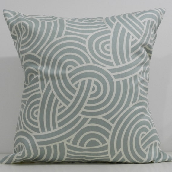 New 18x18 inch Designer Handmade Pillow Case in blue and white knots