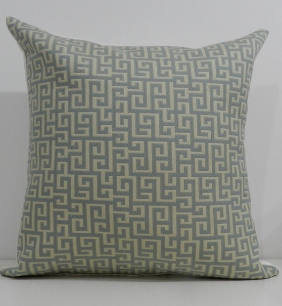New 18x18 inch Designer Handmade Pillow Cases in blue and cream greek key