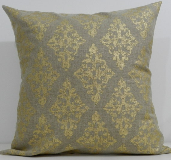 New 18x18 inch Designer Handmade Pillow Case in gold block print on taupe linen
