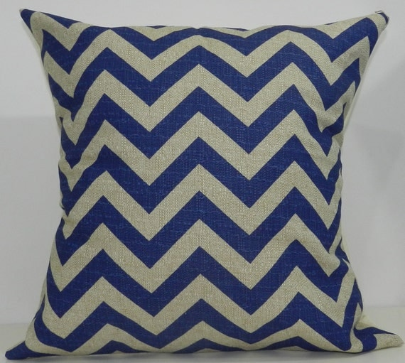 New 18x18 inch Designer Handmade Pillow Case in peacock and taupe chevron