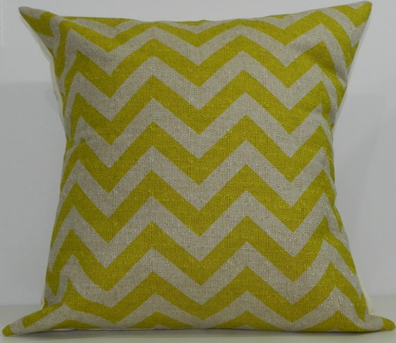 New 18x18 inch Designer Handmade Pillow Case in citrus and taupe chevron