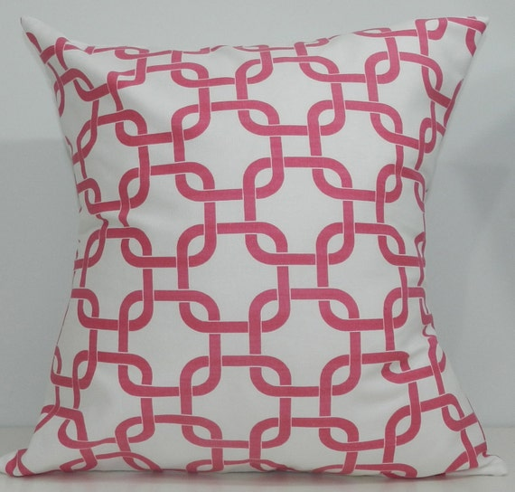 New 18x18 inch Designer Handmade Pillow Case in pink and white link pattern.