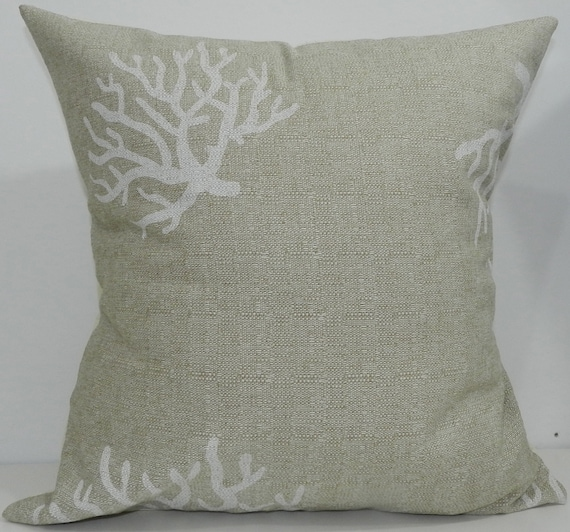 New 18x18 inch Designer Handmade Pillow Case white coral on natural colour textured fabric