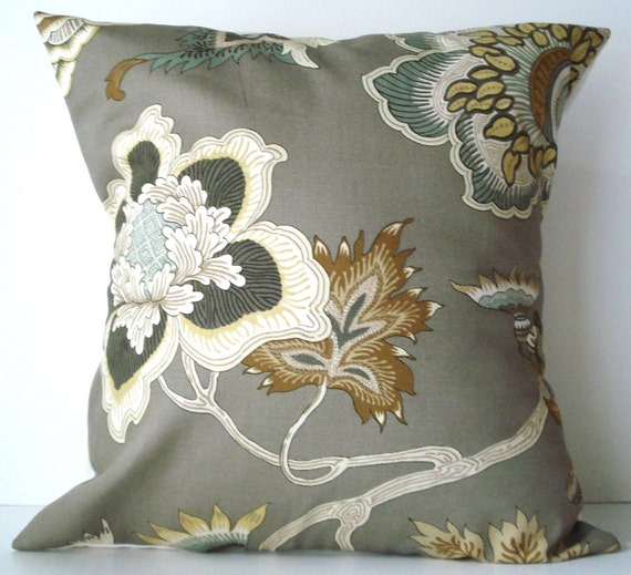 New 18x18 inch Designer Handmade Pillow Case. taupe floral.