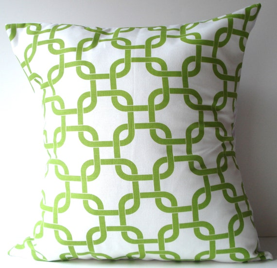 New 18x18 inch Designer Handmade Pillow Case in green and white