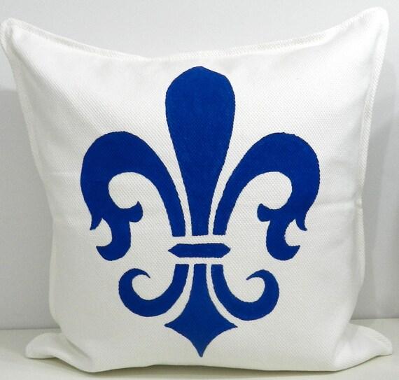 New 20x20 inch Designer Handmade Pillow Case with hand painted fleur de lis