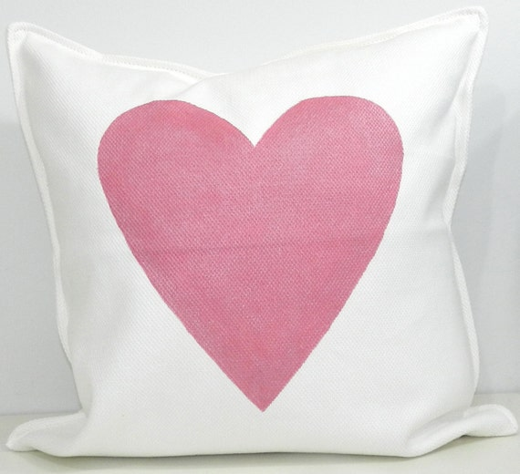 New 20x20 inch Designer Handmade Pillow Case with hand painted pink sparkle heart