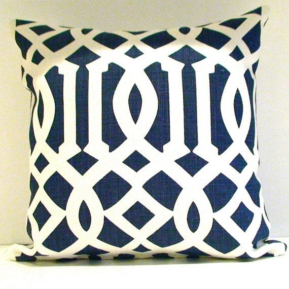 Kelly Wearstler Imperial Trellis in Navy 18x18 pillow cover