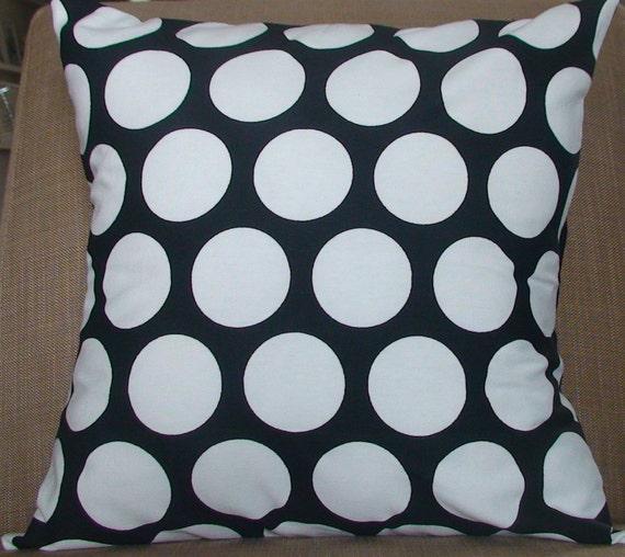 New 18x18 inch Designer Handmade Pillow Case in large white dots on black.