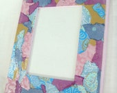 VIOLET DREAMS Original Collage 5 x7 OOAK Decoupage Picture Frame - 50% off
