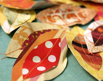 Pile of Autumn Leaves - paper leaf accents
