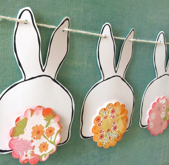 Bunny Garland | Bunny Butts Bunting - pink and yellow tails