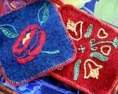 Handmade Wool Red and Blue Vintage Potholder Set