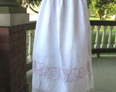 Red Work Pride and Prejudice Full Length Victorian Hand Woven Linen Apron with Lace and Red Stitching