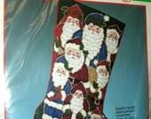 Santa Faces Needlepoint Stocking Kit