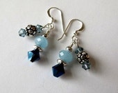 Blue Amazonite Earrings Sterling Silver Blue Swarovski Crystal