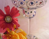 unique hand painted margarita glass - perfect for wedding, Valentines, girls  night out or birthday- can be personalized too
