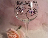 birthday girl wine glass with swirls and polka dots - can be personalized - perfect for birthday, bridesmaids large oversize 18oz glass