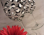 hand painted wine glasses with black and white leopard print - perfect for bridesmaids, birthday or girls night out