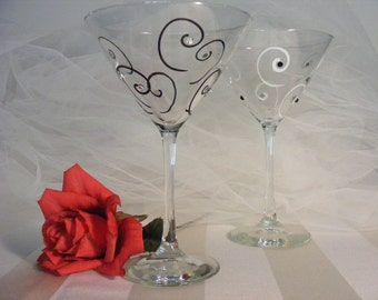 painted Mr and Mrs  black and white wedding or new years eve martini glasses with Swarovski crystals -