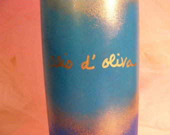 painted wine bottle for olive oil  in shades of blue with gold - great gift for birthday, wedding or housewarming