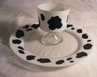 cow print appetizer plate and chip and dip set - fun for your next party
