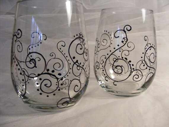 Items similar to hand painted stemless wedding or for Painted stemless wine glasses