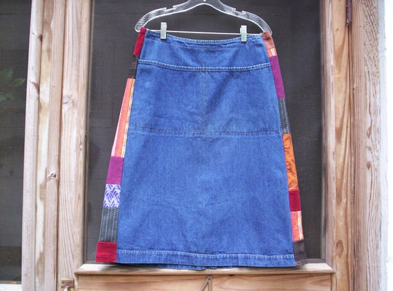 Mega SaLe COLORFUL PATCHWORK SKIRT uPcYcLeD Denim Hippie Vendors Pockets