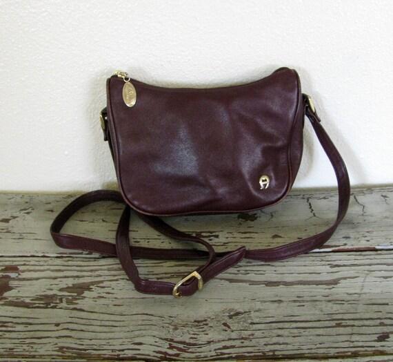 Vintage 80s ETIENNE AIGNER Oxblood Leather Shoulder Bag