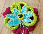 Surreal Eyeball Flower Brooch or Barette-Red, blue and UV green