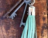 Boho Leather Tassel Keychain by Binding Bee RECLAIMED leather