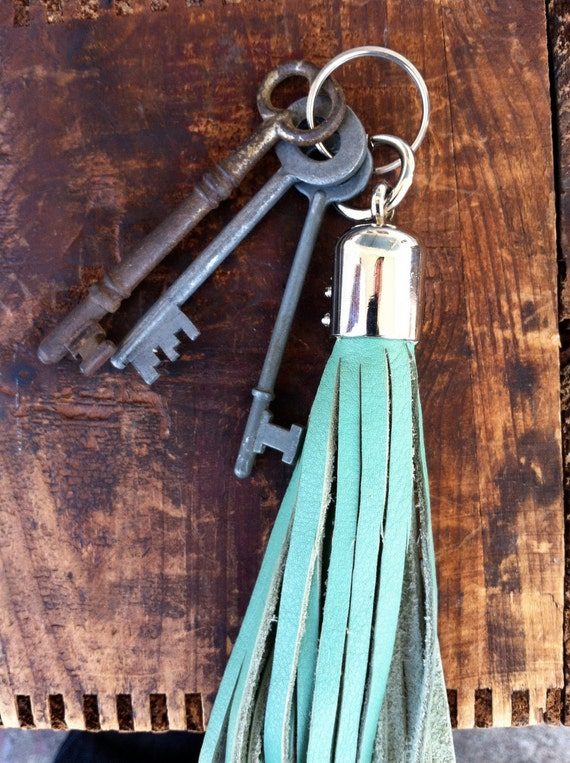 Boho Leather Tassel Keychain by Binding Bee RECLAIMED leather