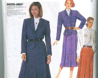 Vintage 1986 Jacket Blouse Ascot and Skirt Sewing Pattern Size 8 m2731