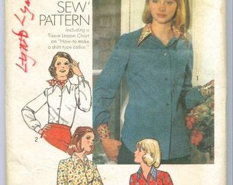 Vintage 1974 Shirt Blouse Sewing Pattern Size 18 s6517
