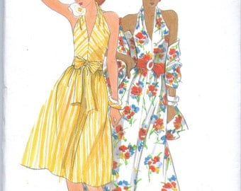 Butterick 4295 Vintage 70s Halter Dress and Stole Size 8 Bust 31.5