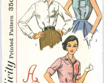 Simplicity 2195 Vintage Shirt Blouse Sewing Pattern Size 14 Bust 34
