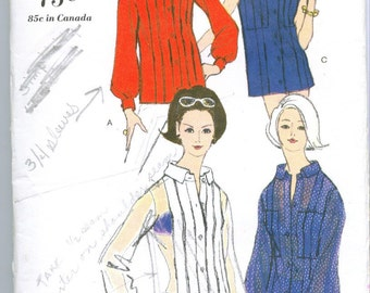 Vogue 6486 Vintage 60s Blouse Sewing Pattern Size 10 Bust 31