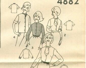 Simplicity 4882 Vintage 60s Blouse Sewing Pattern Size 16 Bust 36 UNCUT