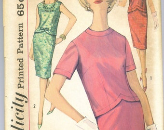 Simplicity 4046 Vintage 60s Skirt and Top 2pc Dress Sewing Pattern Size 14 Bust 34