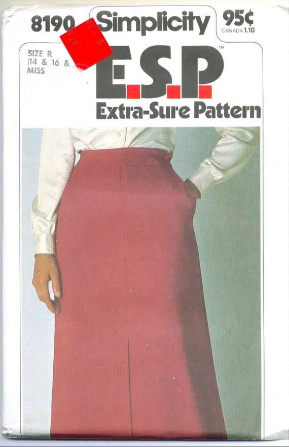 Vintage 1977 Long Aline Skirt Sewing Pattern Sizes 14 16 18 s8190